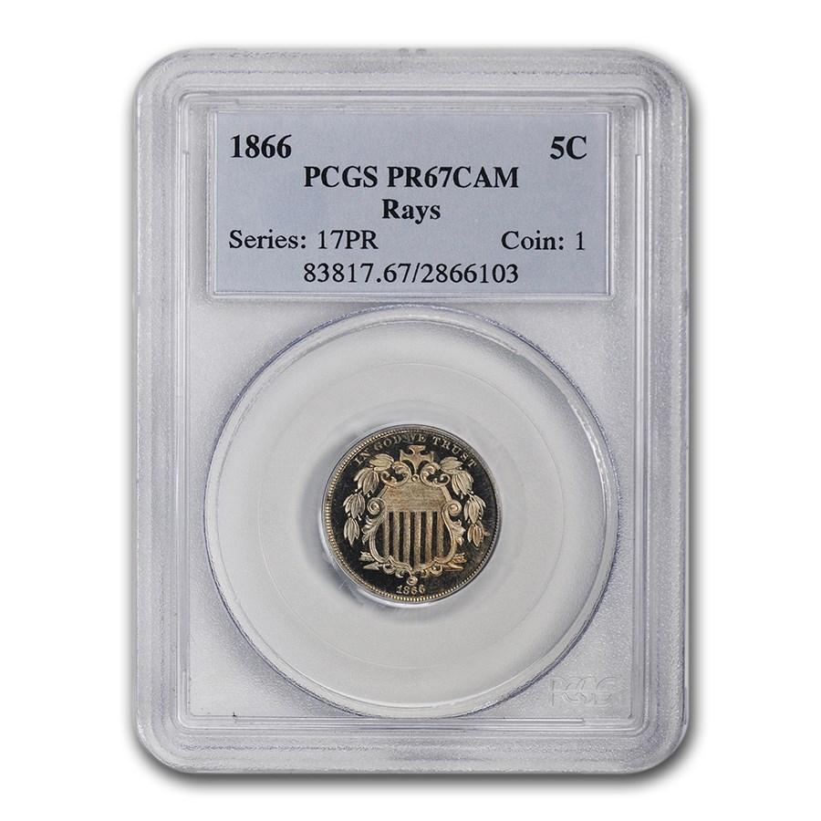 1866 Shield Nickel PR-67 Cameo PCGS (Rays)
