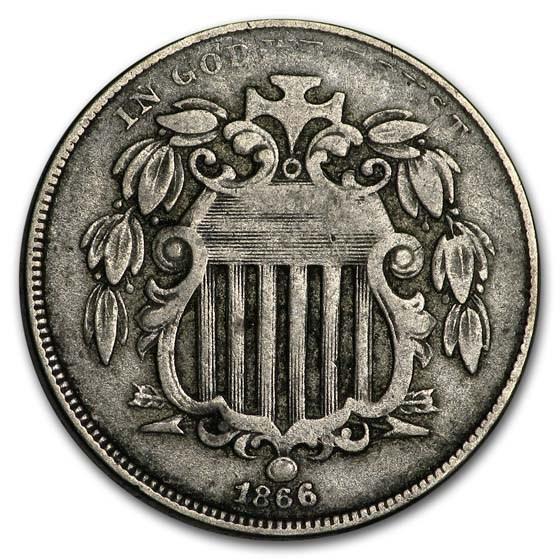 1866 Shield Nickel w/Rays Fine