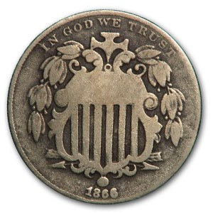 1866 Shield Nickel w/Rays Good