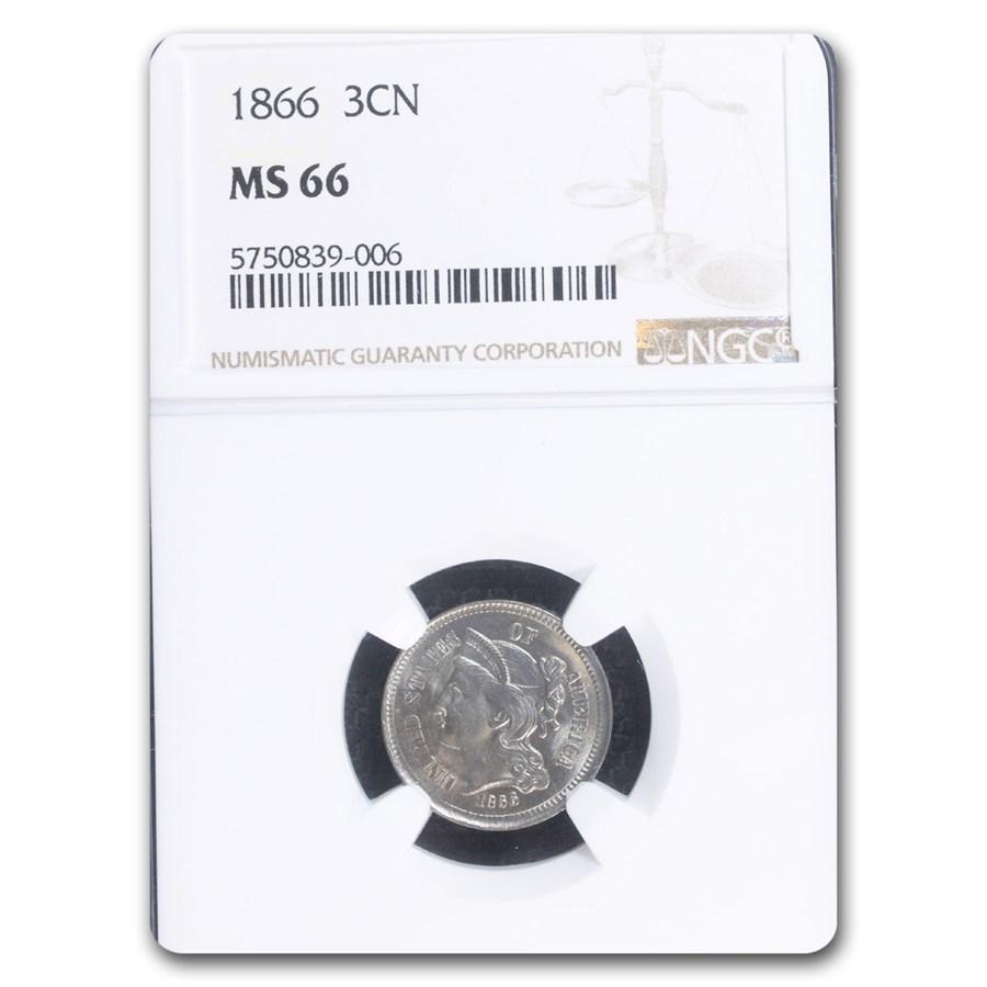 1866 Three Cent Nickel MS-66 NGC