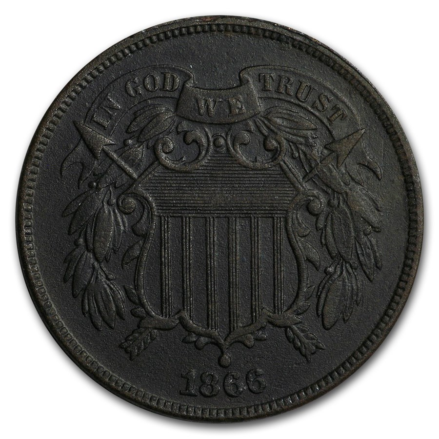 1866 Two Cent Piece AU Details (Environmental Damage, Dark)