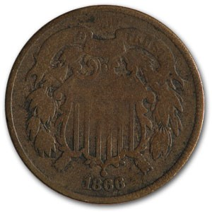 1866 Two Cent Piece Good
