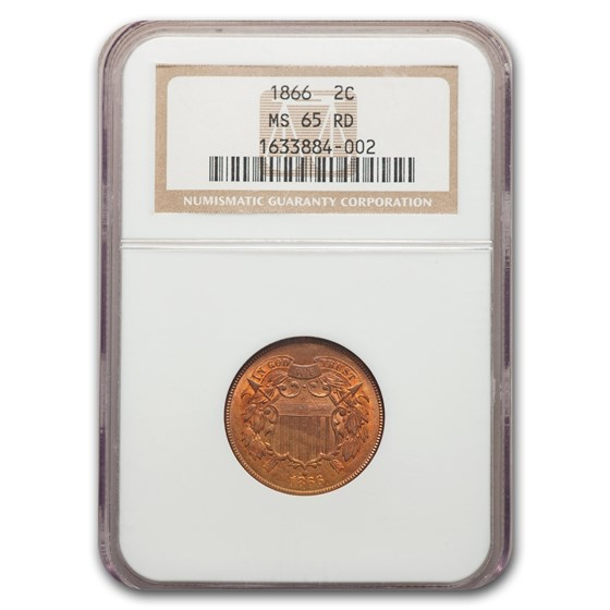 1866 Two Cent Piece MS-65 NGC (Red)