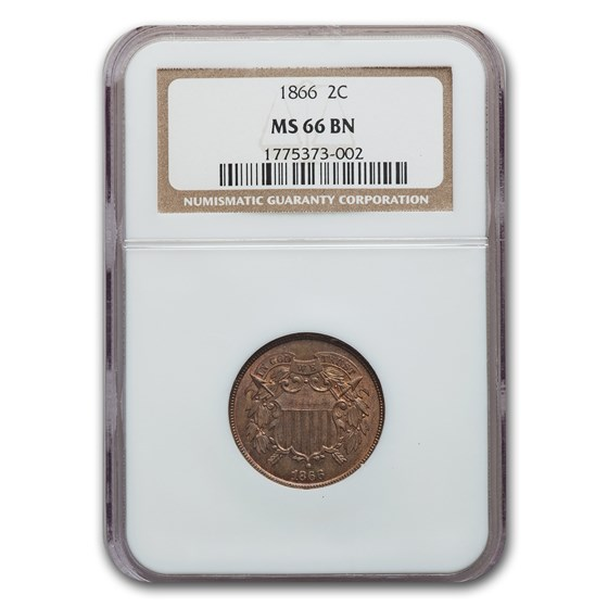 1866 Two Cent Piece MS-66 NGC (Brown)