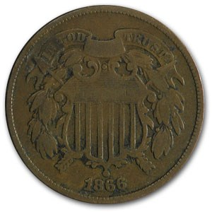 1866 Two Cent Piece VG