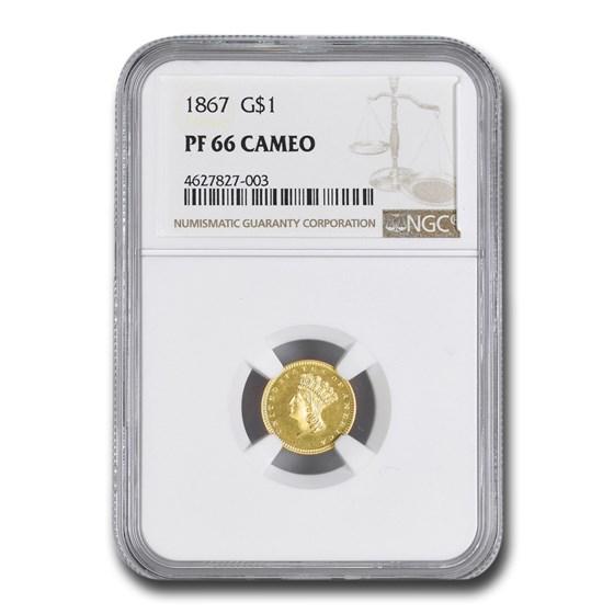 1867 $1 Indian Head Gold Dollar PF-66 Cameo NGC