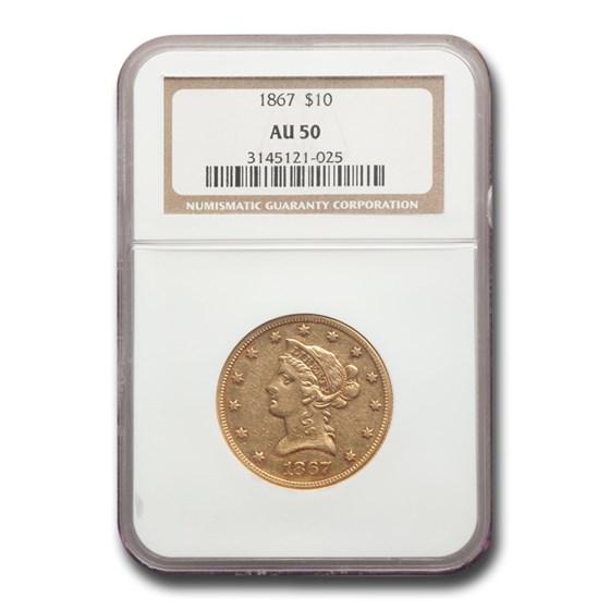 1867 $10 Liberty Gold Eagle AU-50 NGC