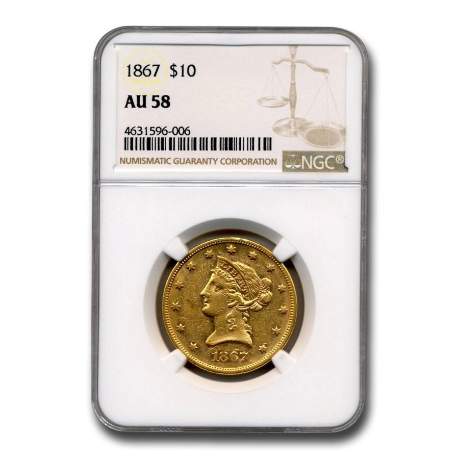 1867 $10 Liberty Gold Eagle AU-58 NGC