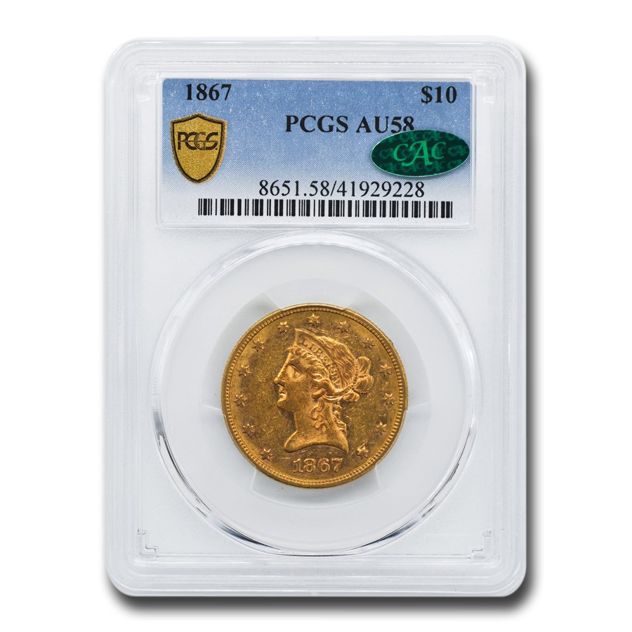 1867 $10 Liberty Gold Eagle AU-58 PCGS CAC