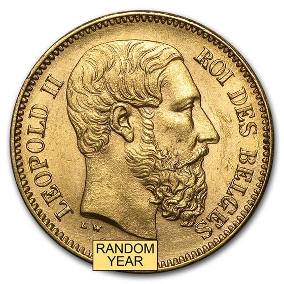 1867-1914 Belgium Gold 20 Francs Leopold II (AU)
