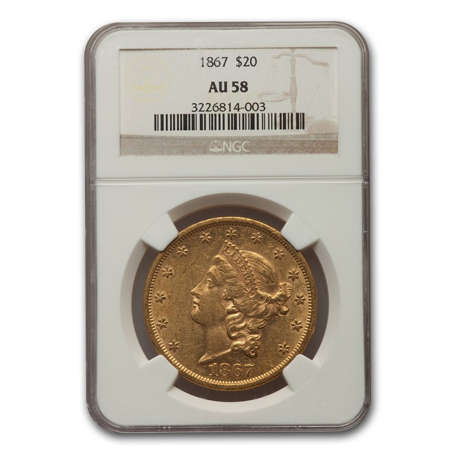1867 $20 Liberty Gold Double Eagle AU-58 NGC