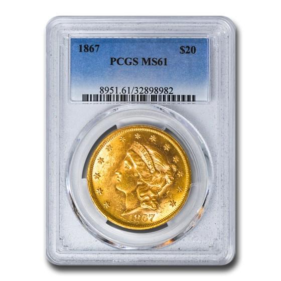 1867 $20 Liberty Gold Double Eagle MS-61 PCGS