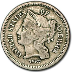 1867 3 Cent Nickel Fine