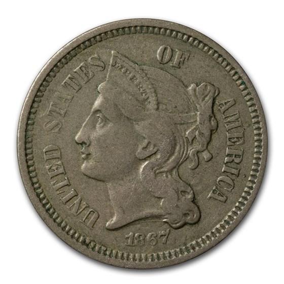 1867 3 Cent Nickel VF