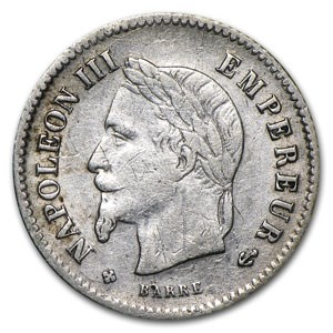 1867 France Silver 20 Centimes VF
