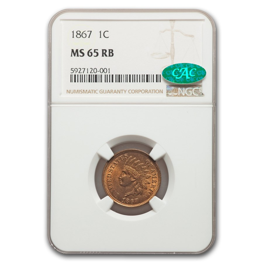 1867 Indian Head Cent MS-65 NGC CAC (Red/Brown)