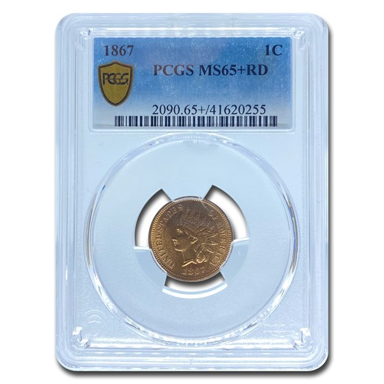 1867 Indian Head Cent MS-65 PCGS (Red)