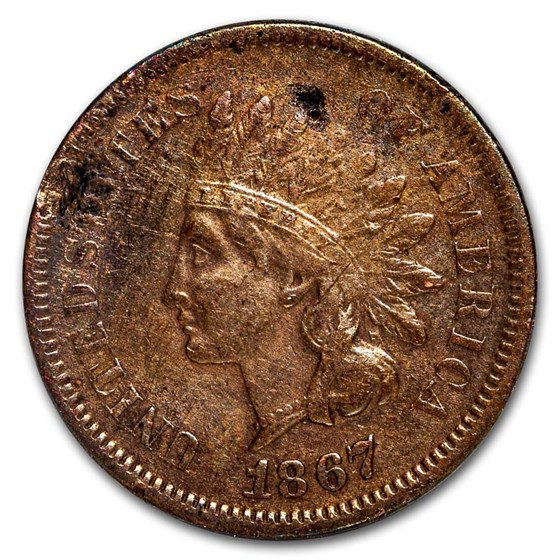 1867 Indian Head Cent XF Details