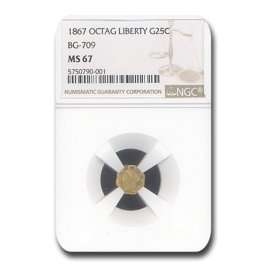 1867 Liberty Octagonal 25 Cent Gold MS-67 NGC (BG-709)