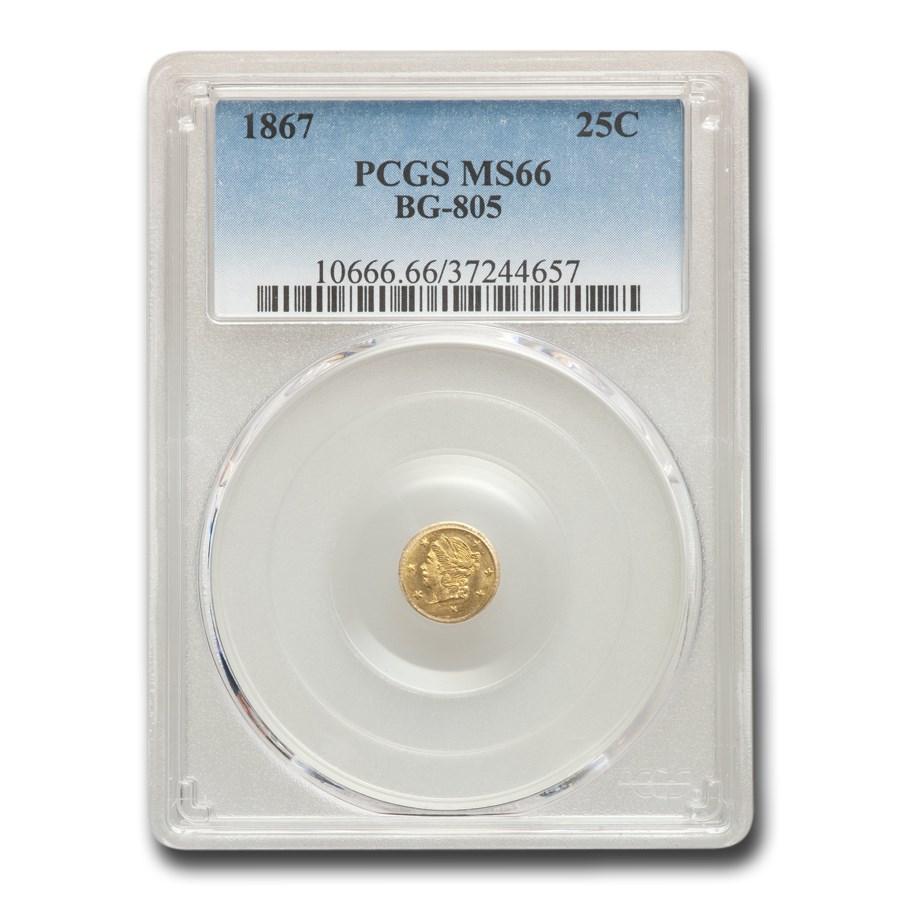1867 Liberty Round 25 Cent Gold MS-66 PCGS (BG-805)