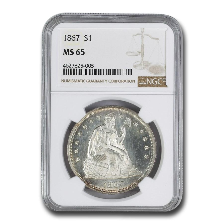 1867 Liberty Seated Dollar MS-65 NGC