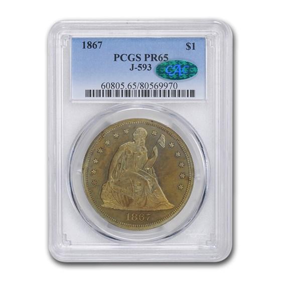 1867 Liberty Seated Dollar Pattern PF-65 PCGS (J-593)