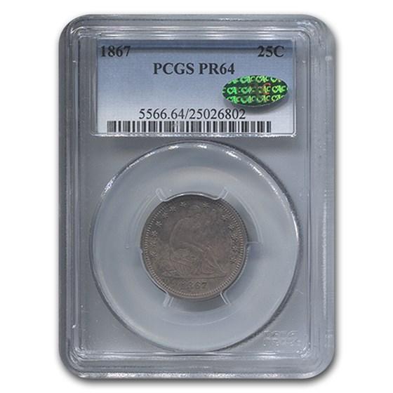 1867 Liberty Seated Quarter PR-64 PCGS CAC