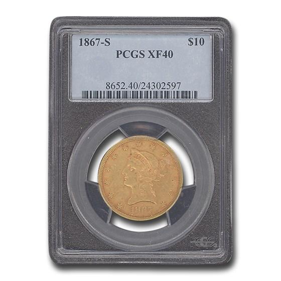 1867-S $10 Liberty Gold Eagle XF-40 PCGS