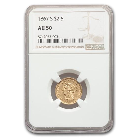 1867-S $2.50 Liberty Gold Quarter Eagle AU-50 NGC