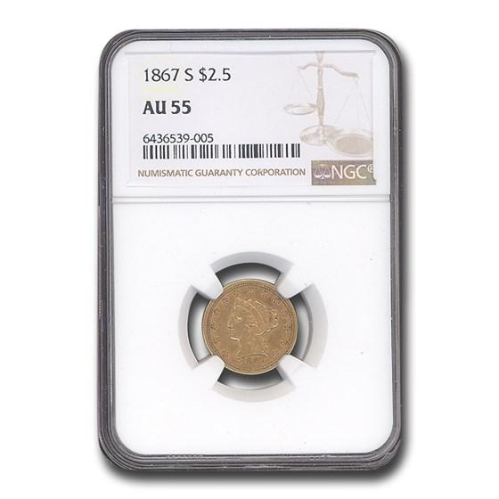 1867-S $2.50 Liberty Gold Quarter Eagle AU-55 NGC