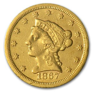 1867-S $2.50 Liberty Gold Quarter Eagle AU Details (Cleaned)