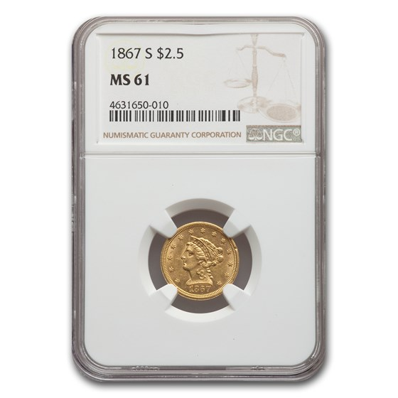 1867-S $2.50 Liberty Gold Quarter Eagle MS-61 NGC