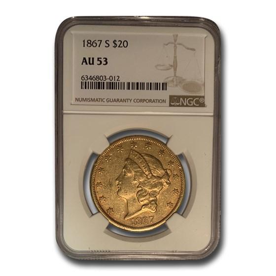 1867-S $20 Liberty Gold Double Eagle AU-53 NGC