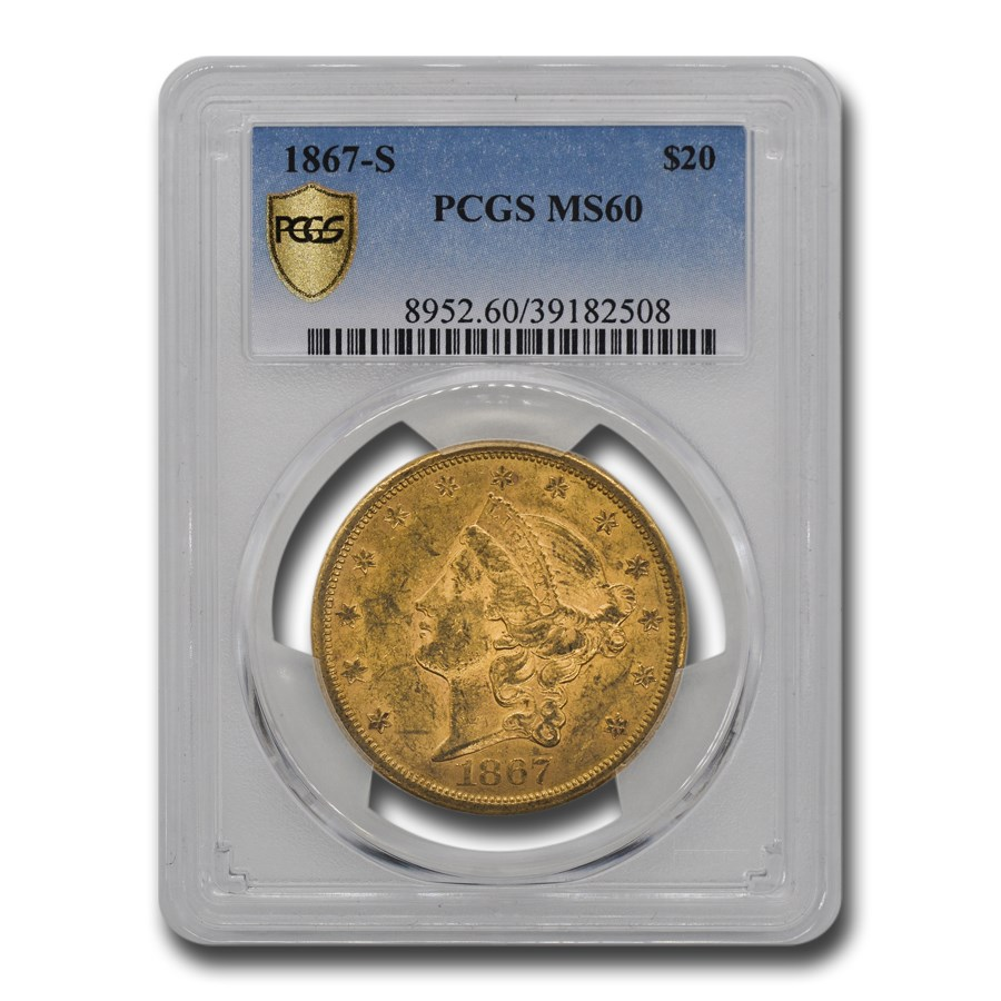 1867-S $20 Liberty Gold Double Eagle MS-60 PCGS