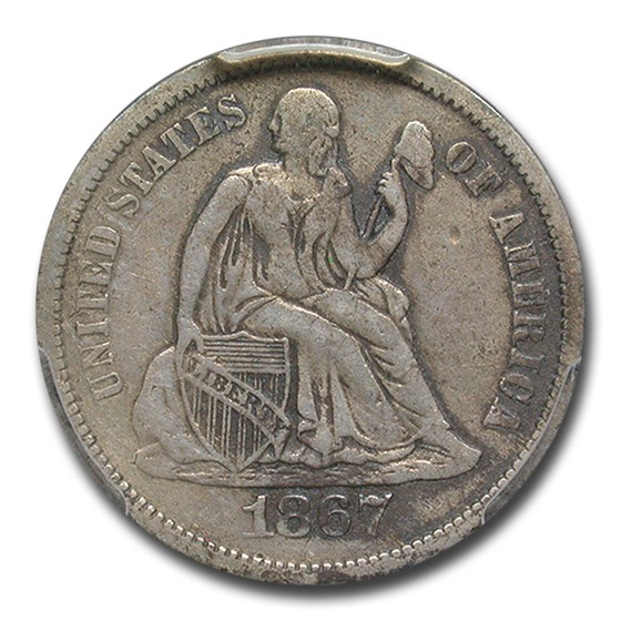 1867-S Liberty Seated Dime VF-20 PCGS