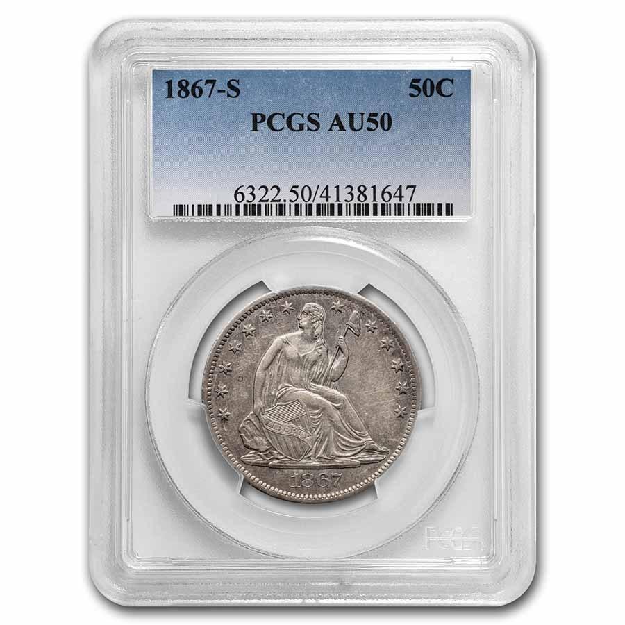 1867-S Liberty Seated Half Dollar AU-50 PCGS