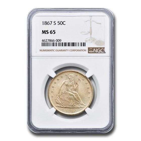 1867-S Liberty Seated Half Dollar MS-65 NGC