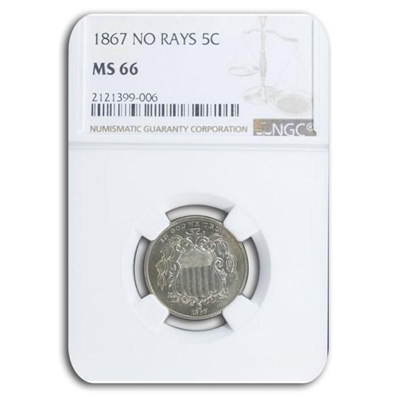 1867 Shield Nickel MS-66 NGC (No Rays)