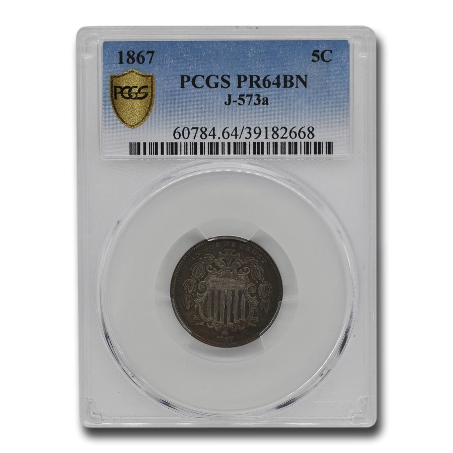 1867 Shield Nickel Pattern PR-64 PCGS (Brown, J-573a)