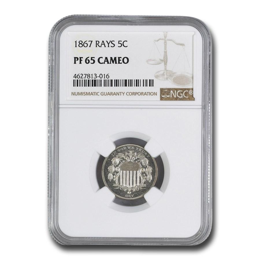 1867 Shield Nickel PF-65 Cameo NGC (Rays)