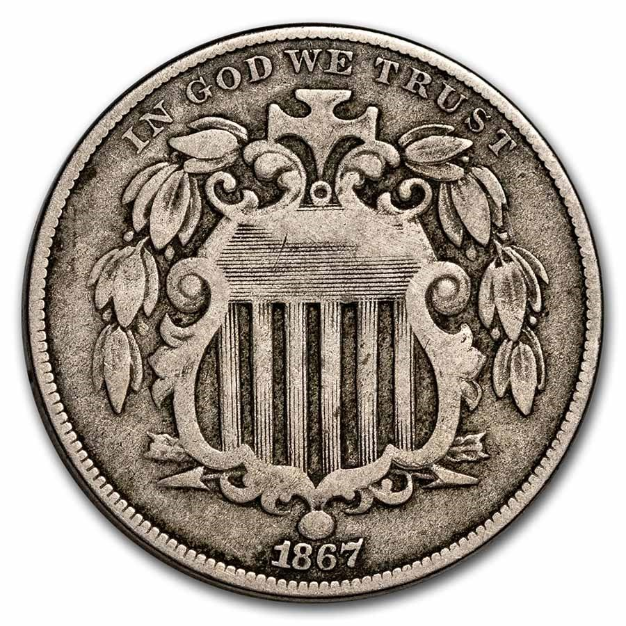 1867 Shield Nickel w/o Rays Fine