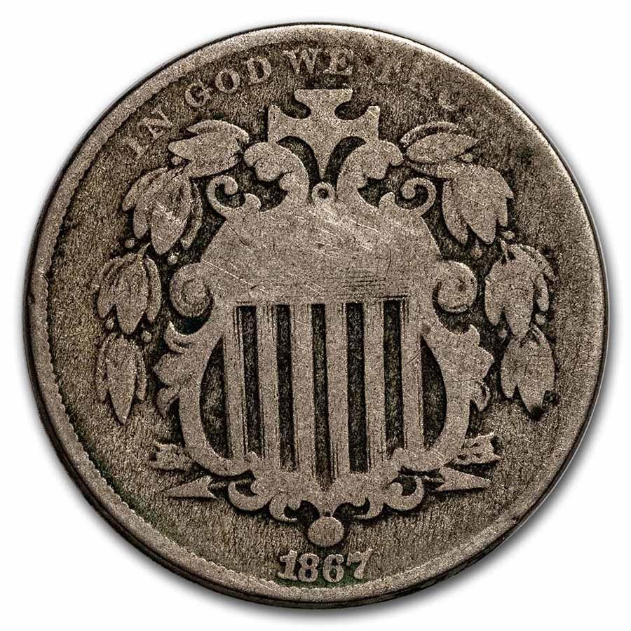 1867 Shield Nickel w/o Rays Good