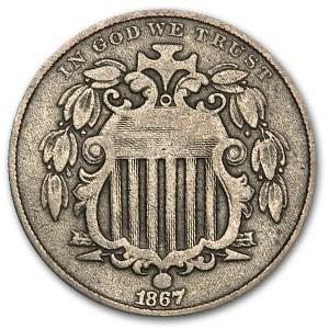 1867 Shield Nickel w/o Rays VF