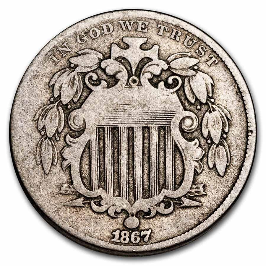 1867 Shield Nickel w/o Rays VG