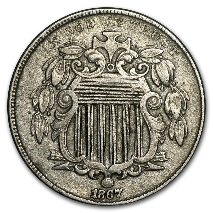 1867 Shield Nickel w/o Rays XF