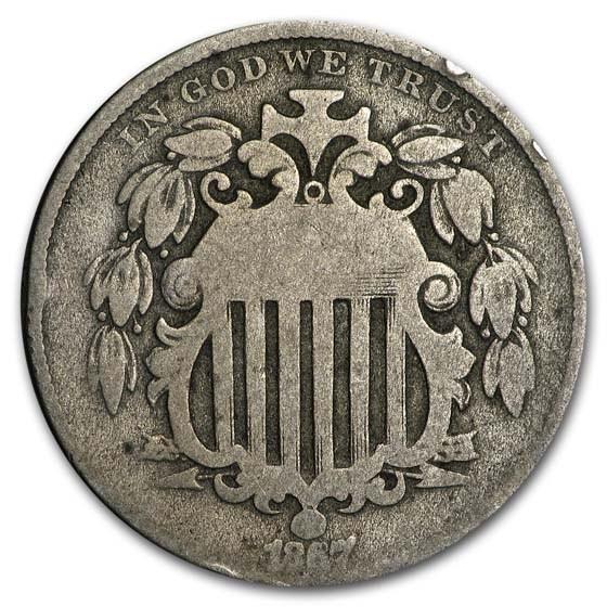 1867 Shield Nickel w/Rays AG