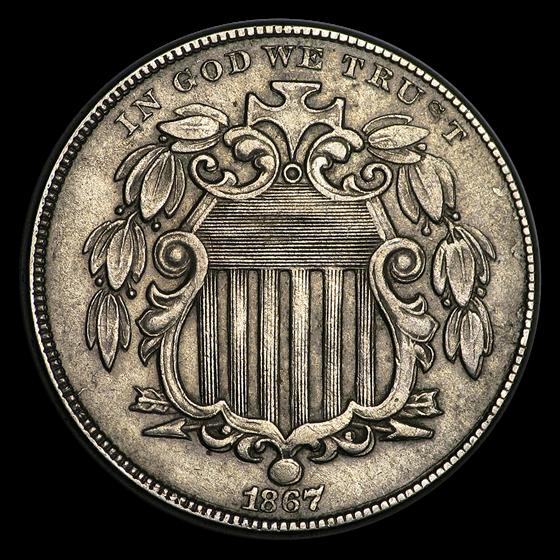 1867 Shield Nickel w/Rays AU