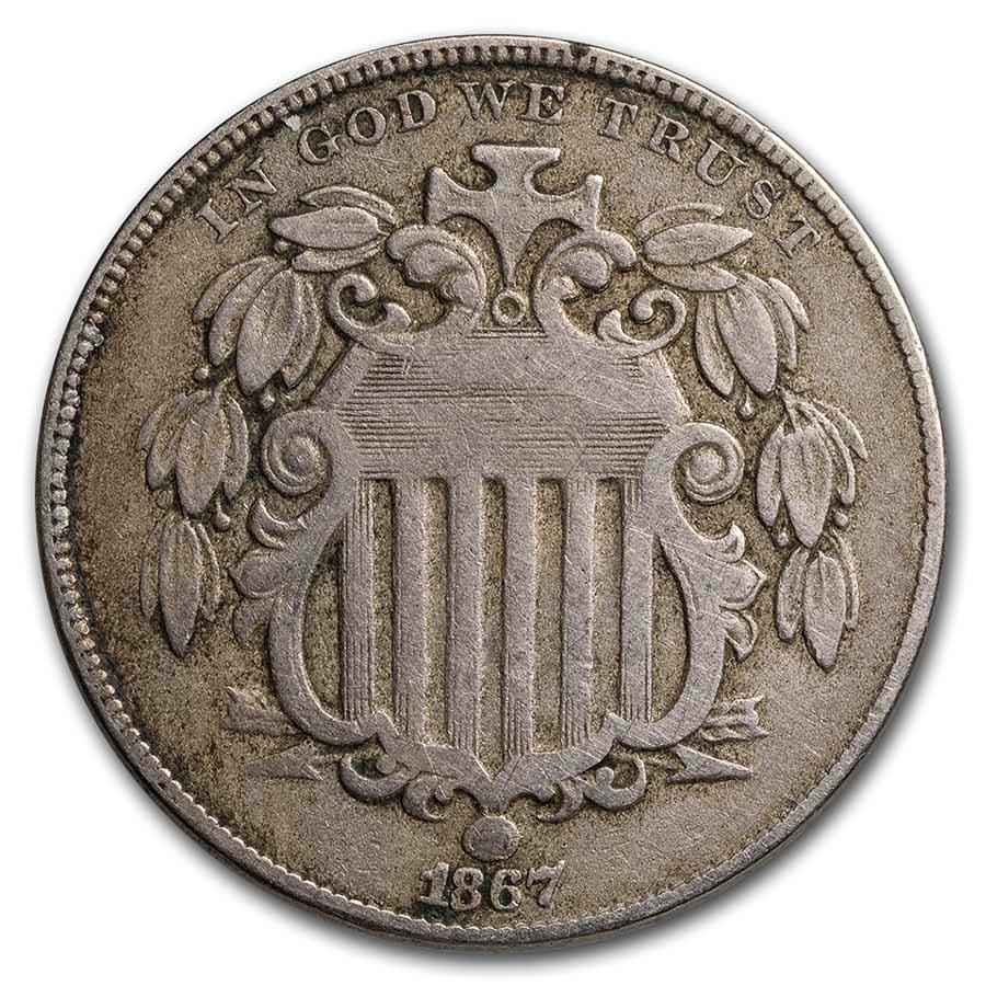 1867 Shield Nickel w/Rays Fine