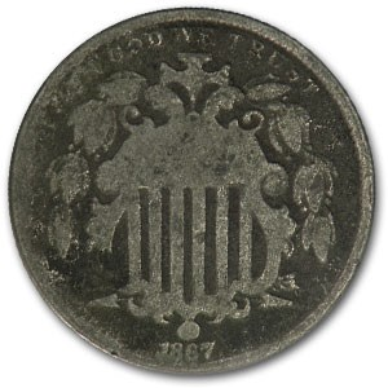 1867 Shield Nickel w/Rays Good