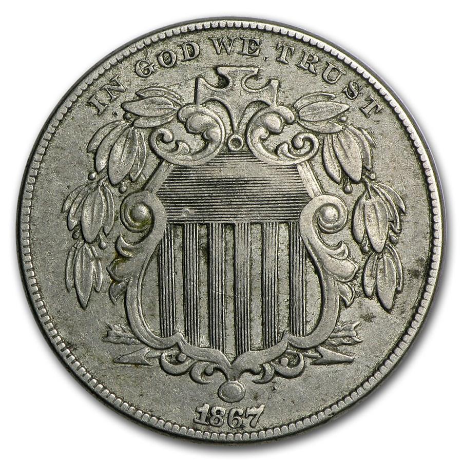 1867 Shield Nickel w/Rays VF